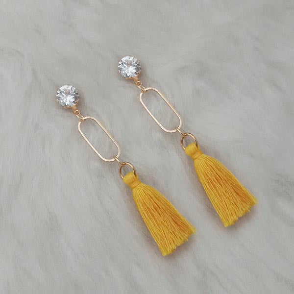 Jeweljunk Gold Plated Yellow Thread Tassel Earrings