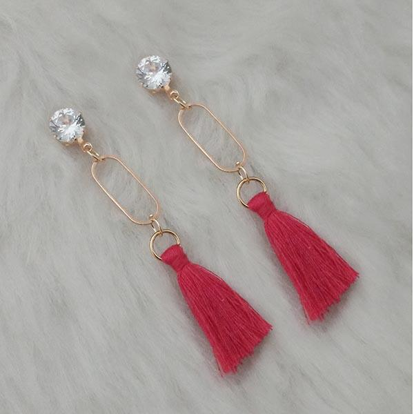 Jeweljunk Red Thread Gold Plated Tassel Earrings