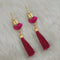 Jeweljunk Gold Plated Purple Thread Tassel Earrings