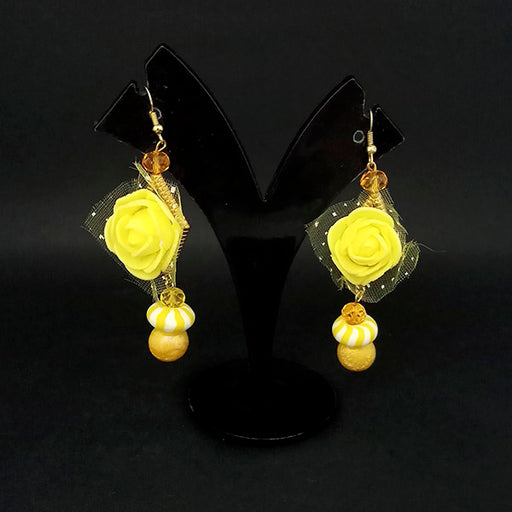 Kriaa Yellow Floral Earrings - 1313435E
