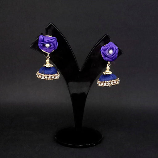 Kriaa Blue Floral Jhumki Earrings - 1313437B