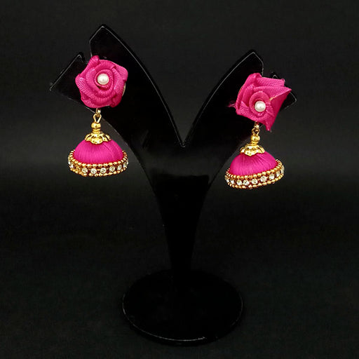 Kriaa Pink Floral Jhumki Earrings - 1313437C