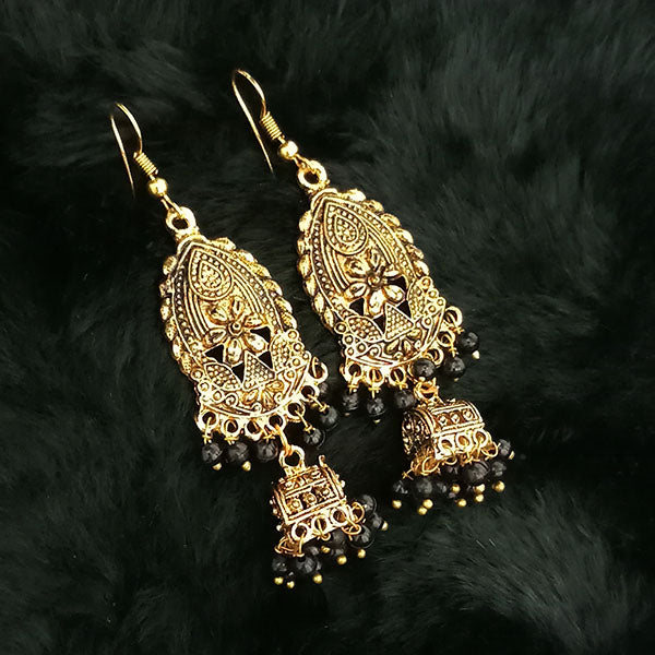 Jeweljunk Antique Gold Plated Black Beads Jhumki Earrings