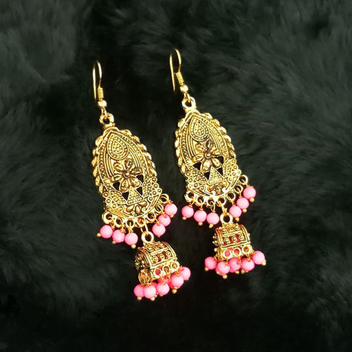 Jeweljunk Pink Beads Antique Gold Plated Jhumki Earrings