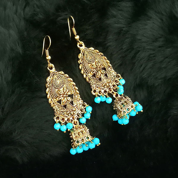 Jeweljunk Blue Beads Antique Gold Plated Jhumki Earrings