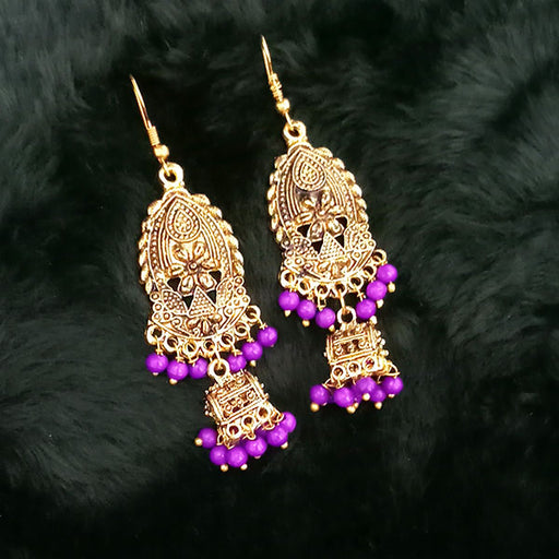 Jeweljunk Antique Gold Plated Purple Beads Jhumki Earrings