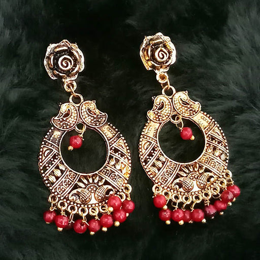 Jeweljunk Maroon Beads Antique Gold Plated Dangler Earrings
