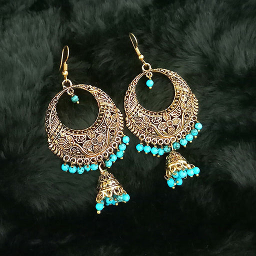 Jeweljunk Antique Gold Plated Blue Beads Jhumki Earings