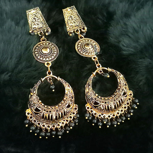 Jeweljunk Black Beads Antique Gold Plated Dangler Earrings