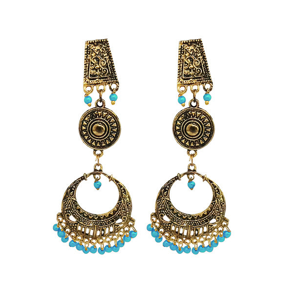 Jeweljunk Antique Gold Plated Blue Beads Dangler Earrings