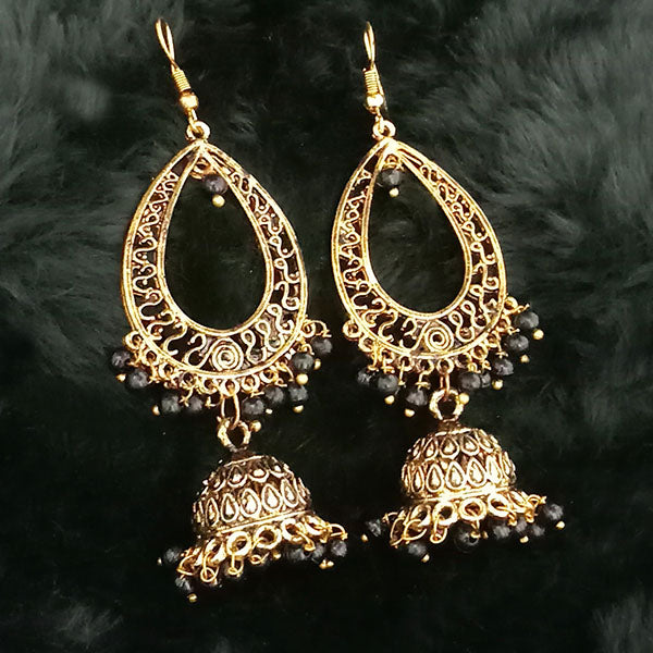 Jeweljunk Black Beads Antique Gold Plated Jhumki Earrings