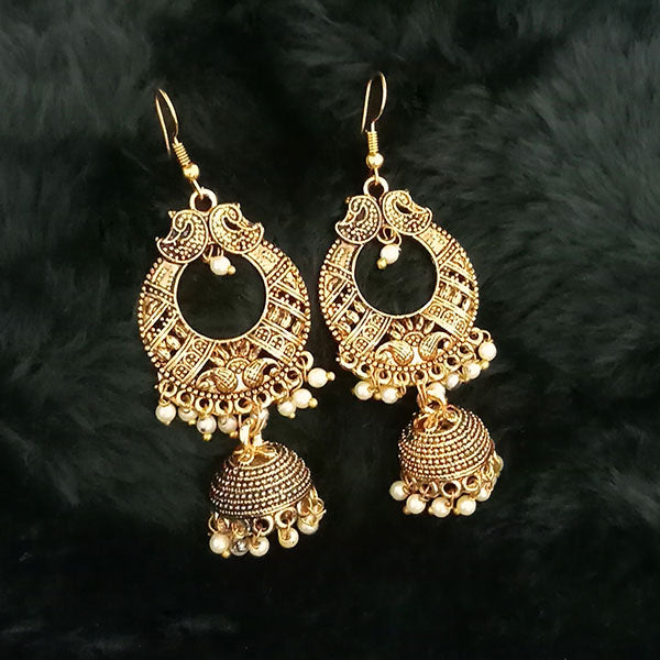 Jeweljunk White Beads Antique Gold Plated Jhumki Earrings