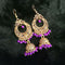 Jeweljunk Purple Beads Antique Gold Plated Jhumki Earrings
