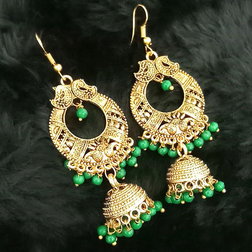 Jeweljunk Green Beads Antique Gold Plated Jhumki Earrings