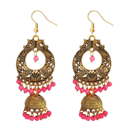 Jeweljunk Antique Gold Plated Pink Beads Jhumki Earrings