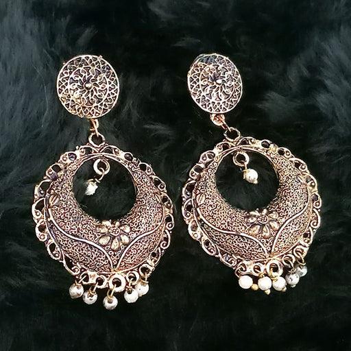 Jeweljunk White Beads Antique Gold Plated Dangler Earrings