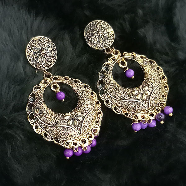 Jeweljunk Purple Beads Antique Gold Plated Dangler Earrings