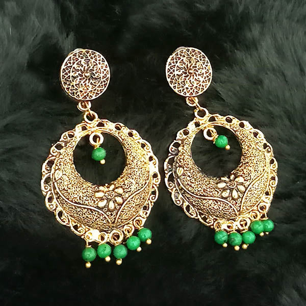 Jeweljunk Green Beads Antique Gold Plated Dangler Earrings
