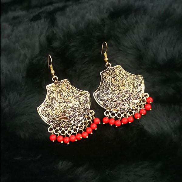 Jeweljunk Red Beads Antique Gold Plated Dangler Earrings