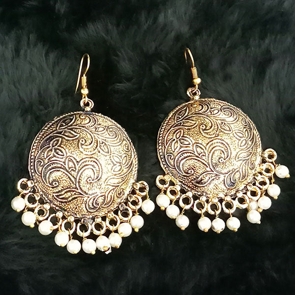 Jeweljunk Antique Gold Plated White Beads Dangler Earrings