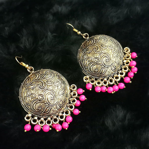 Jeweljunk Antique Gold Plated Pink Beads Dangler Earrings