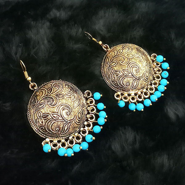 Jeweljunk Blue Beads Antique Gold Plated Dangler Earrings