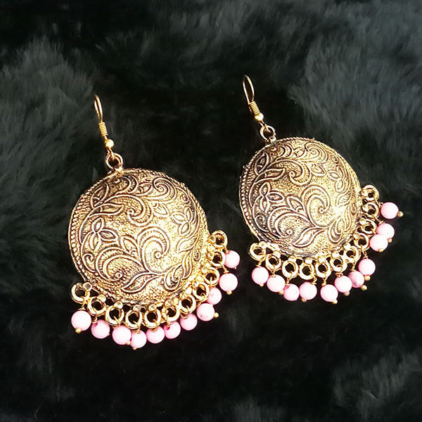 Jeweljunk Pink Beads Antique Gold Plated Dangler Earrings
