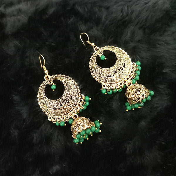 Jeweljunk Antique Gold Plated Green Beads Jhumki Earrings
