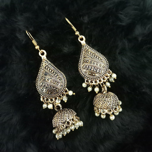 Jeweljunk Antique Gold Plated White Beads Jhumki Earrings