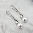 Kriaa Austrian Stone Rhodium Plated Pearl Dangler Earrings