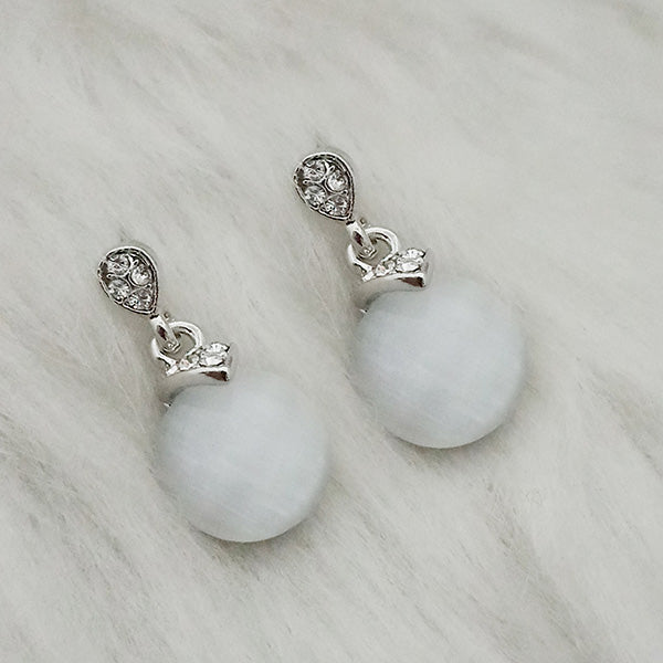 Kriaa Resin Stone Rhodium Plated Dangler Earrings