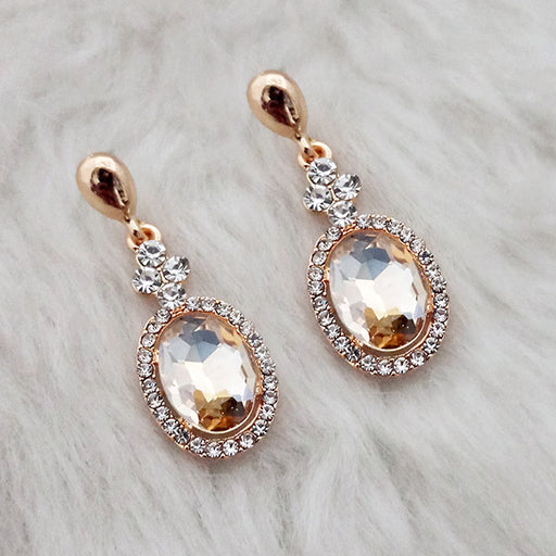 Kriaa Brown Crystal Stone Gold Plated Dangler Earrings