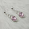 Kriaa Pink Crystal Stone Rhodium Plated Dangler Earrings