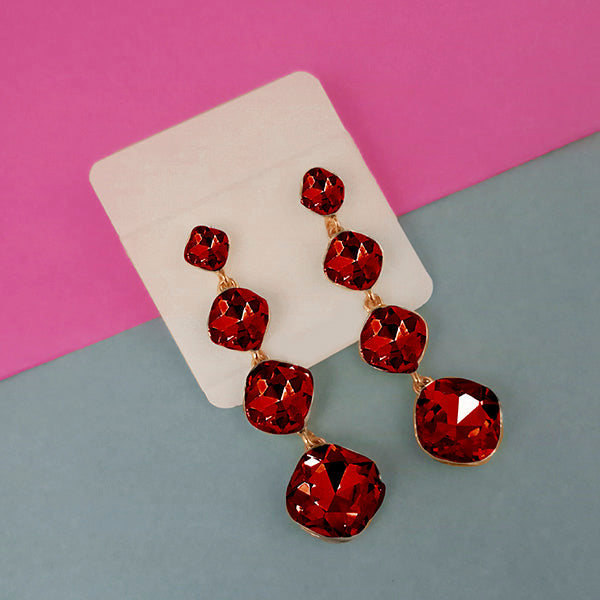 Kriaa Gold Plated Red Crystal Dangler Earrings