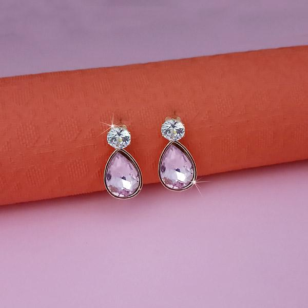 Kriaa Purple Crystal And Austrian Stone Stud Earrings