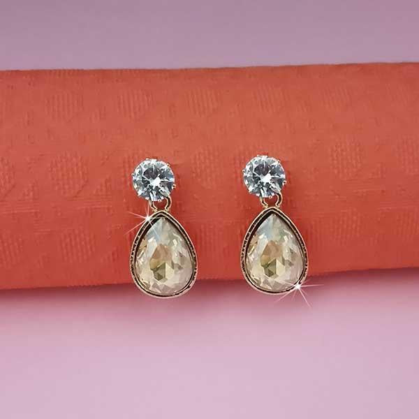 Kriaa Yellow Crystal And Austrian Stone Stud Earrings
