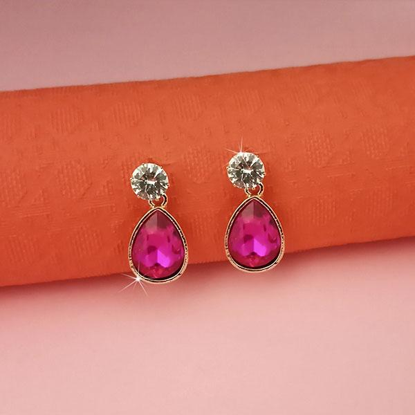 Kriaa Pink Crystal And Austrian Stone Stud Earrings -1313663D