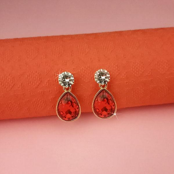 Kriaa Red Crystal And Austrian Stone Stud Earrings