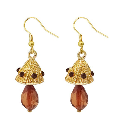 Kriaa Austrian Stone Brown Gold Plated Jhumki Earrings