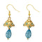 Kriaa Austrian Stone Blue Gold Plated Jhumki Earrings
