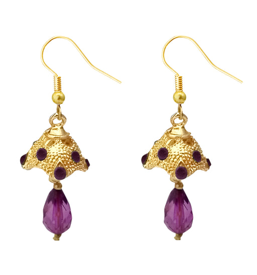 Kriaa Austrian Stone Purple Gold Plated Jhumki Earrings