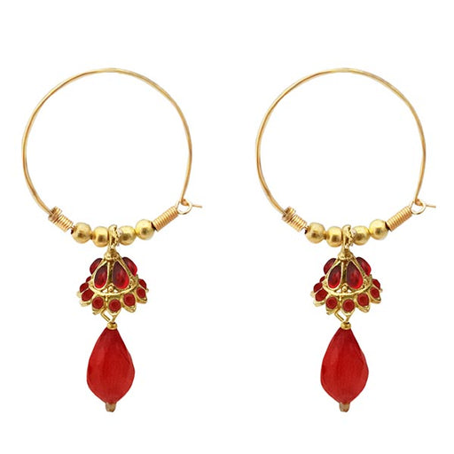 Kriaa Austrian Stone Red Gold Plated Jhumki Earrings