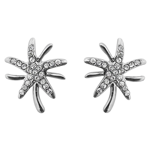 Kriaa Austrian Stone Floral Shape Silver Plated Stud Earrings