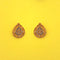 Kriaa Brown Austrian Stone Gold Plated Stud Earrings - 1313839B