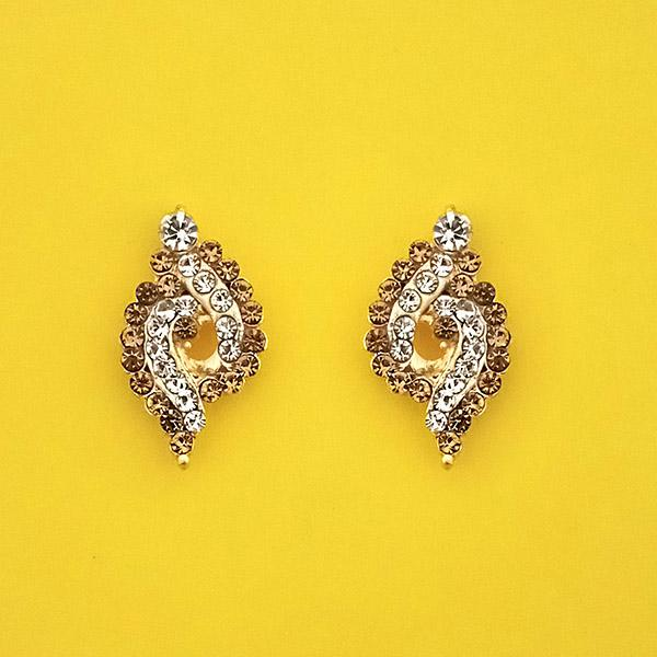 Kriaa Brown Austrian Stone Gold Plated Stud Earrings - 1313841E