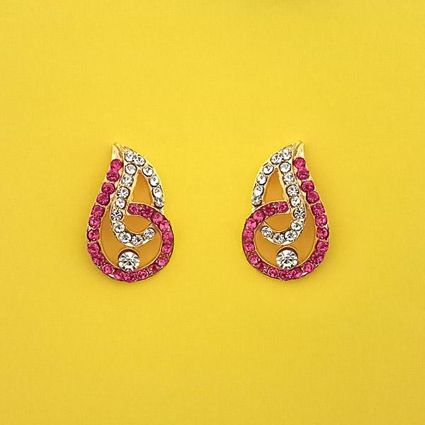 Kriaa Pink Austrian Stone Gold Plated Stud Earrings - 1313843E