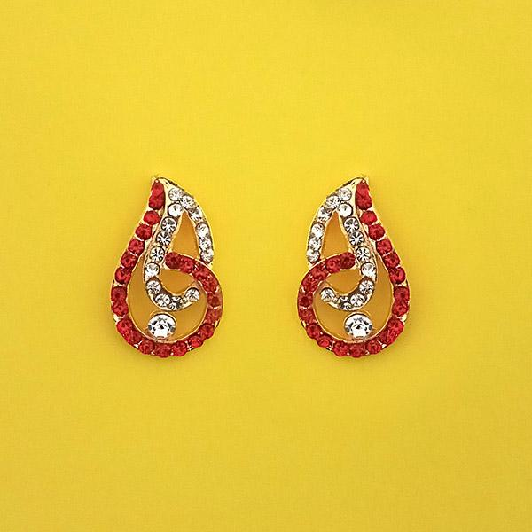Kriaa Red Austrian Stone Gold Plated Stud Earrings - 1313843J