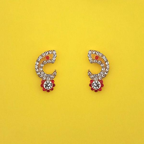 Kriaa White And Red Austrian Stone Stud Earrings - 1313847H