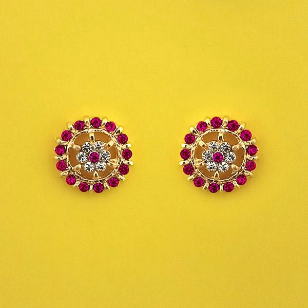Kriaa Pink Austrian Stone Gold Plated Stud Earrings - 1313848C