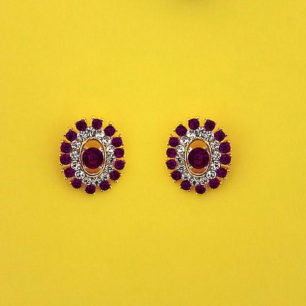 Kriaa Purple Austrian Stone Stud Earrings - 1313850I